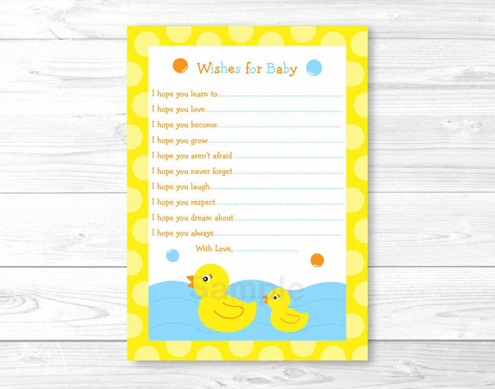 Printable Baby Shower Cards Unique Lil Rubber Duck Printable Baby Shower Wishes for Baby