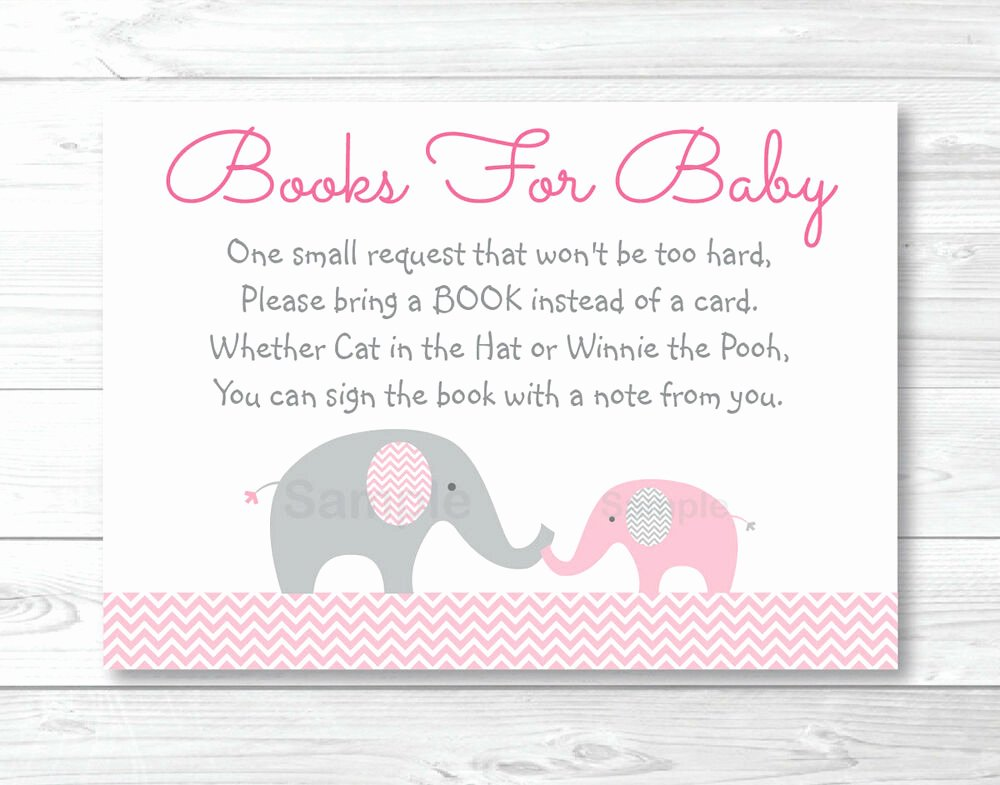 Printable Baby Shower Cards Unique Pink Chevron Elephant Printable Baby Shower Book Request
