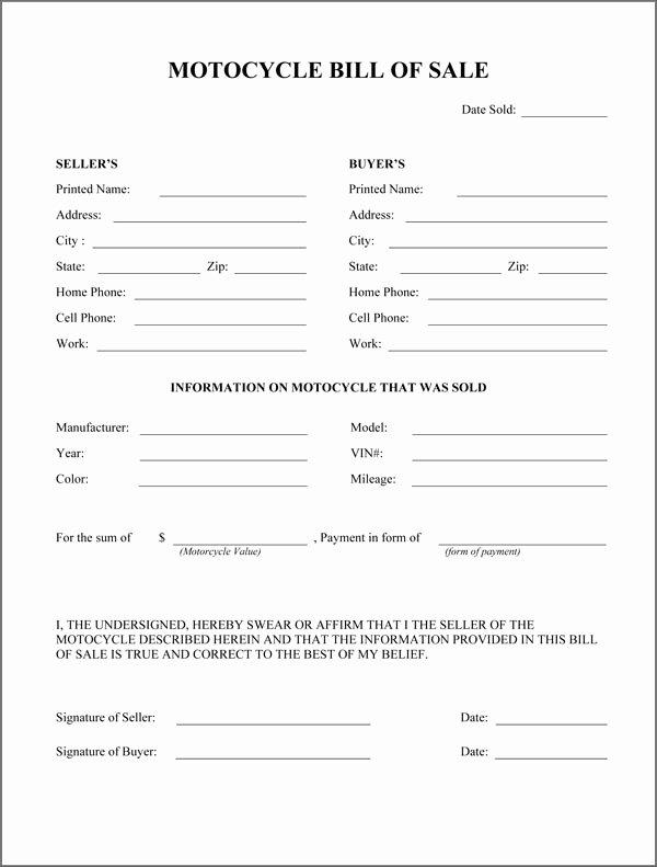 Printable Bill Of Sale form Beautiful Bill Sale Pdf