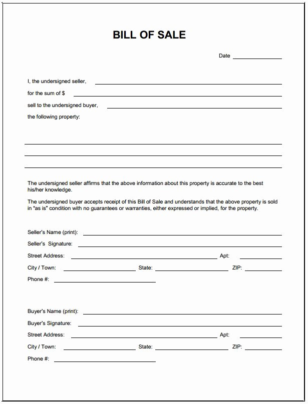 Printable Bill Of Sale form Best Of Bill Sale form Template