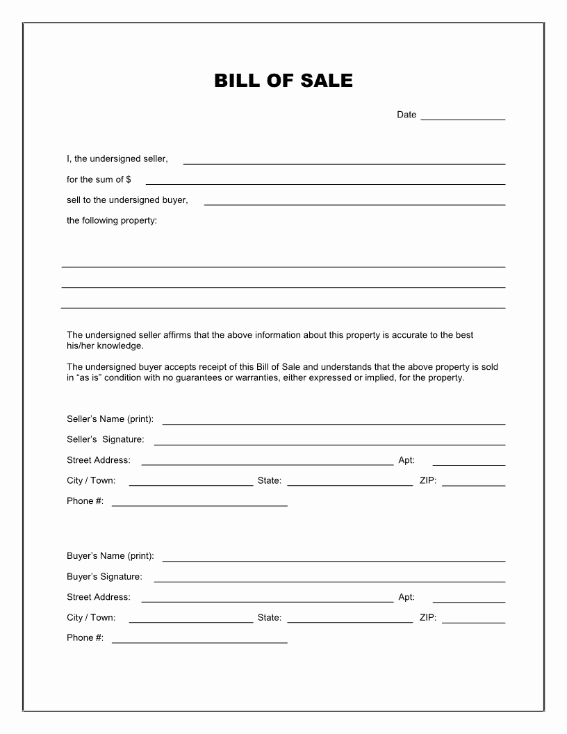 Printable Bill Of Sale form Best Of Free Printable Blank Bill Of Sale form Template as is