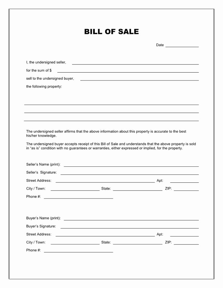 Printable Bill Of Sale form Best Of Printable Bill Of Sale Template