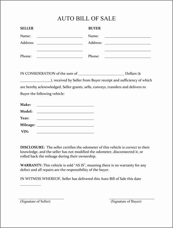 Printable Bill Of Sale form Elegant Free Printable Free Car Bill Of Sale Template form Generic