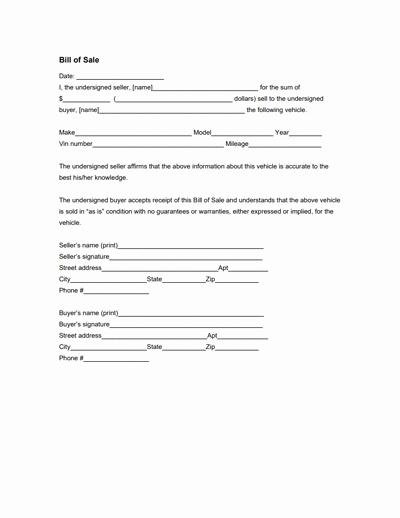 Printable Bill Of Sale form Elegant General Bill Of Sale form Free Download Create Edit