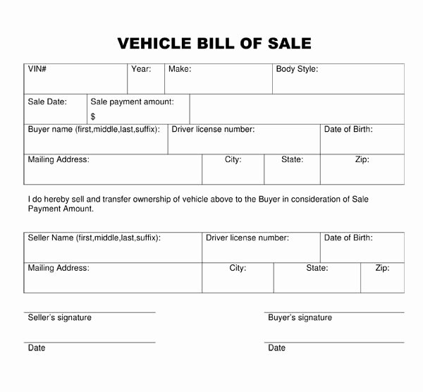 Printable Bill Of Sale form Fresh Bill Of Sale form Template