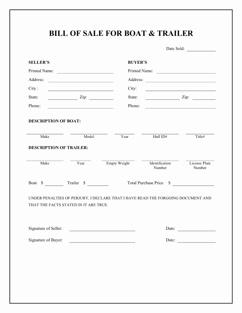 Printable Bill Of Sale form Fresh Free Printable Camper Bill Of Sale form Free form Generic