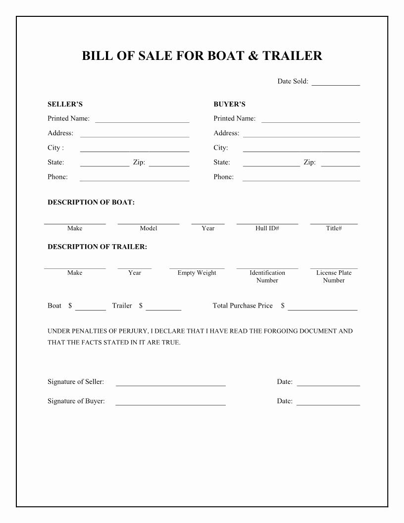 Printable Bill Of Sale form Fresh Free Printable Camper Bill Of Sale form Free form Generic