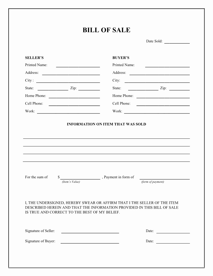 Printable Bill Of Sale form Inspirational Bill Of Sale Firearm Vehicle Bill Of Sale form Dmv Auto
