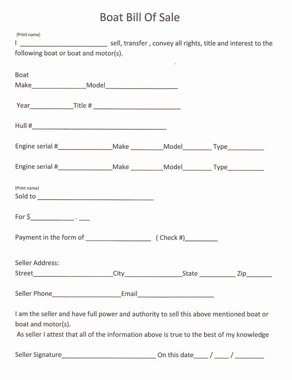 Printable Bill Of Sale form Lovely Free Printable Boat Bill Sale form Generic