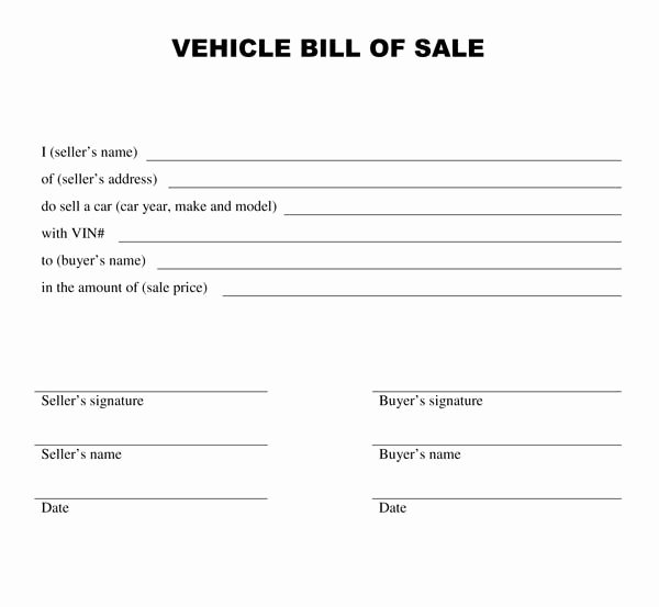 Printable Bill Of Sale form Luxury Printable Sample Bill Of Sale Templates form