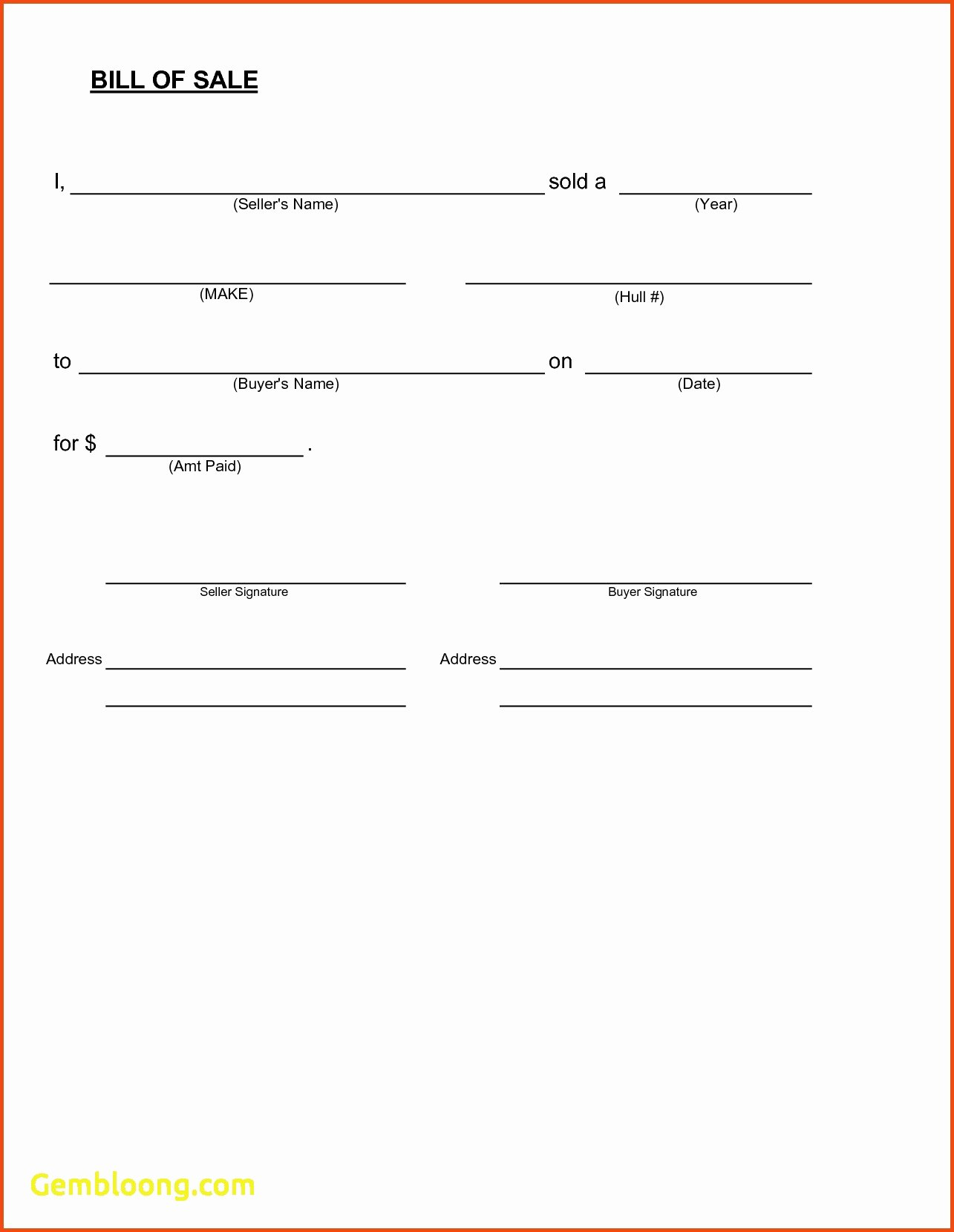 Printable Bill Of Sale form New Free Printable Vehicle Bill Sale form