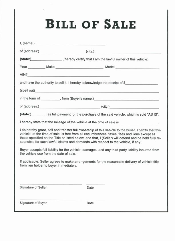 Printable Bill Of Sale form Unique Free Printable Bill Sale form form Generic
