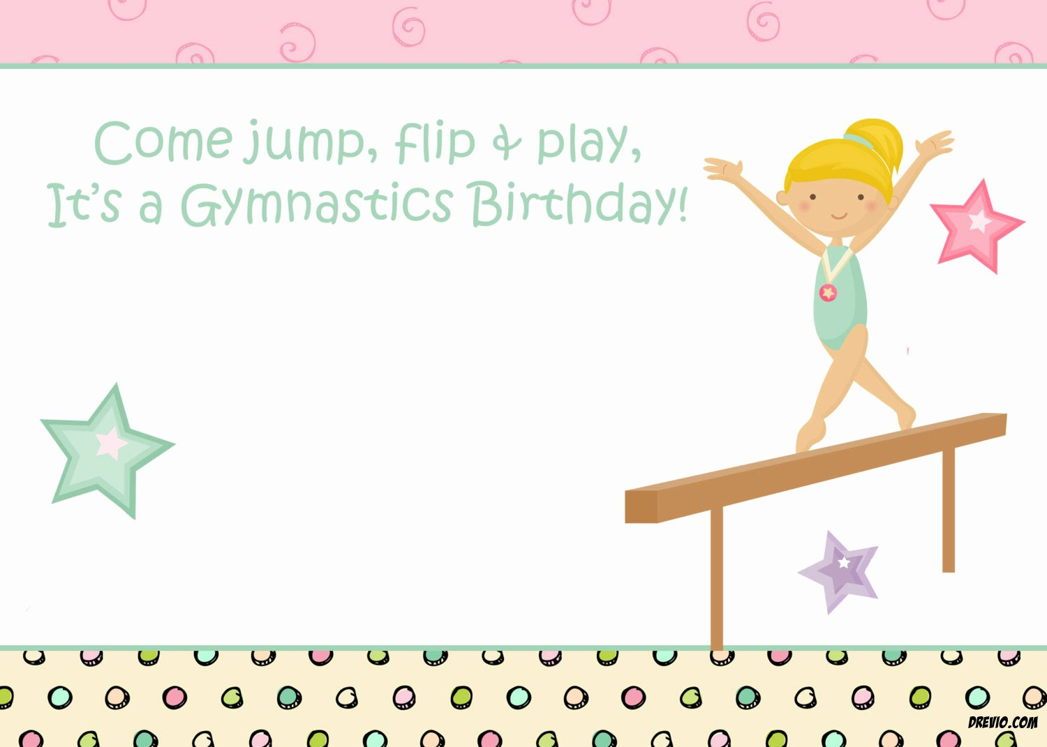 Printable Birthday Party Invitations Beautiful Free Printable Gymnastic Birthday Invitations – Updated
