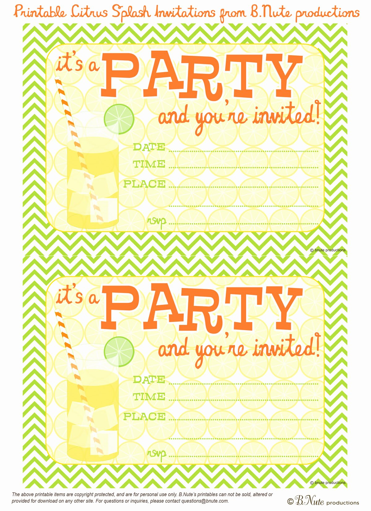 Printable Birthday Party Invitations Elegant Bnute Productions Free Printable Citrus Splash Invitations