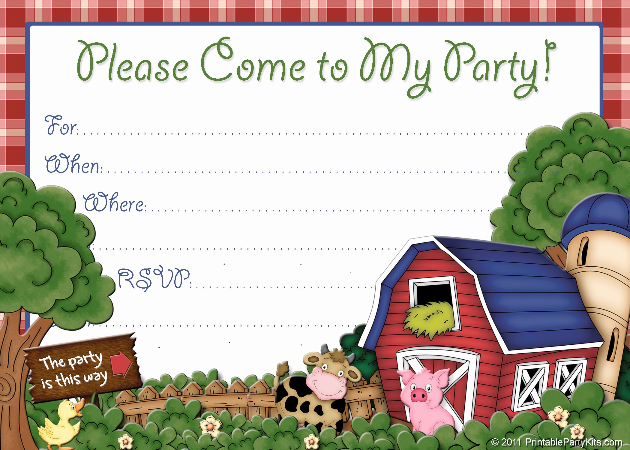 Printable Birthday Party Invitations Elegant Free Farm Birthday Invitations – Free Printable Birthday