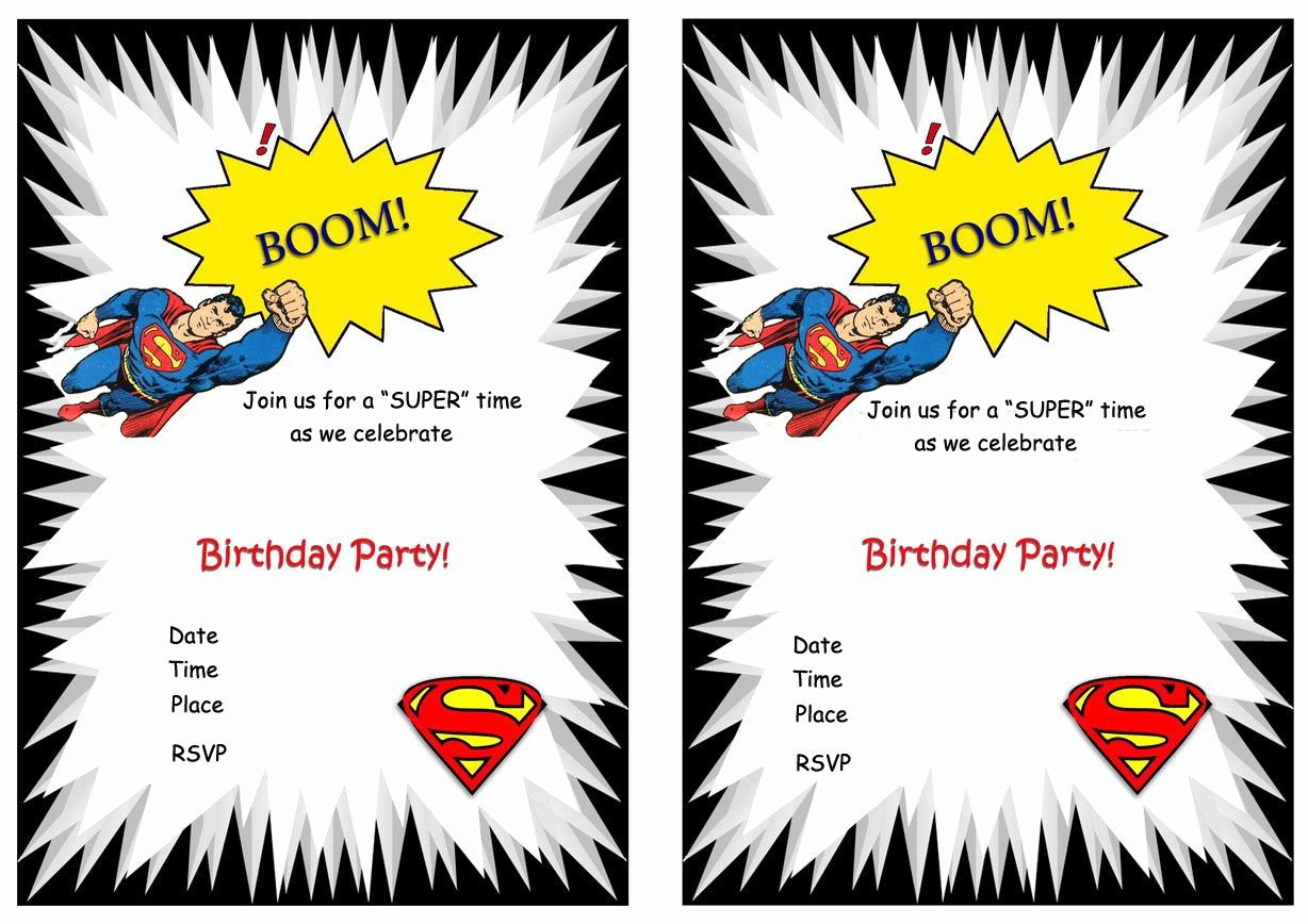 Printable Birthday Party Invitations Elegant Superman Free Printable Birthday Party Invitations