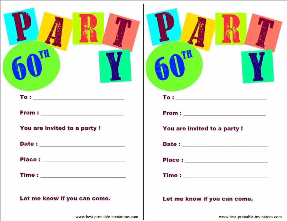Printable Birthday Party Invitations Fresh 20 Ideas 60th Birthday Party Invitations Card Templates
