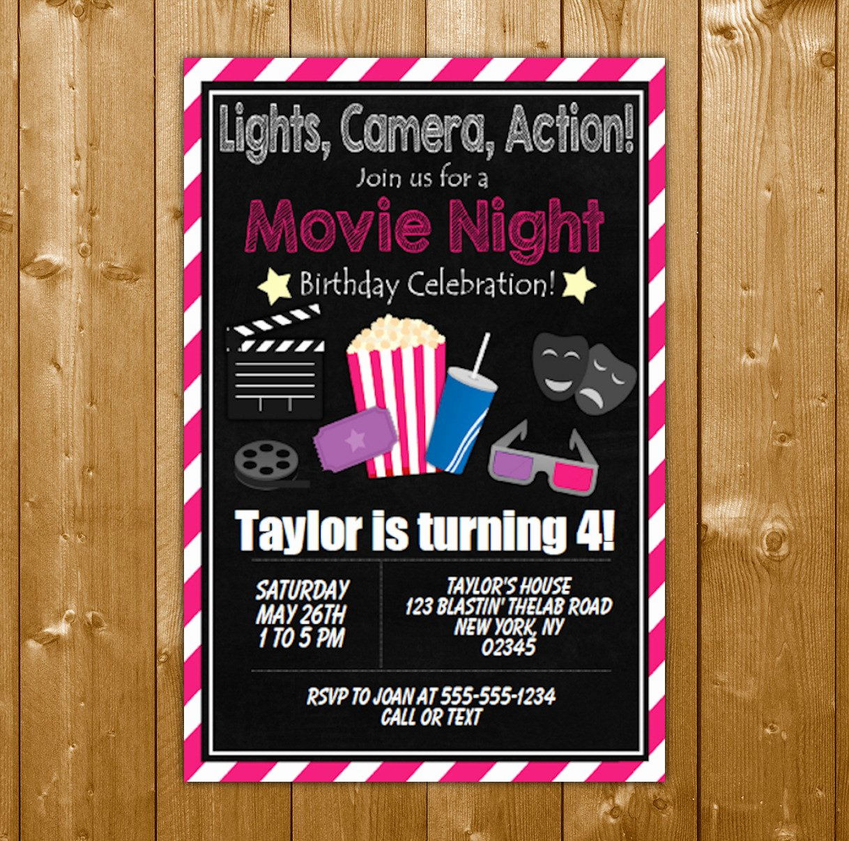 Printable Birthday Party Invitations Fresh Movie Party Invitation Printable Digital Download Girl