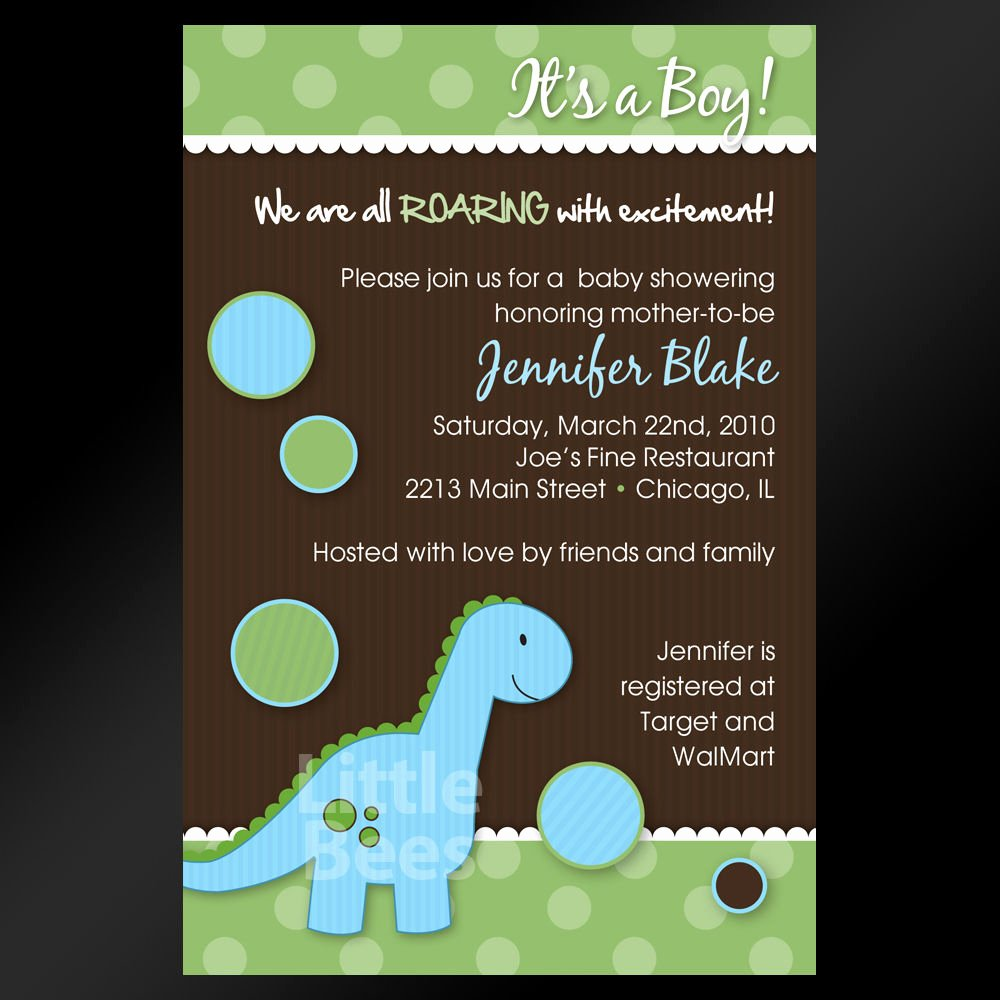 Printable Birthday Party Invitations Inspirational Adorable Blue Dinosaur Printable Baby Shower or