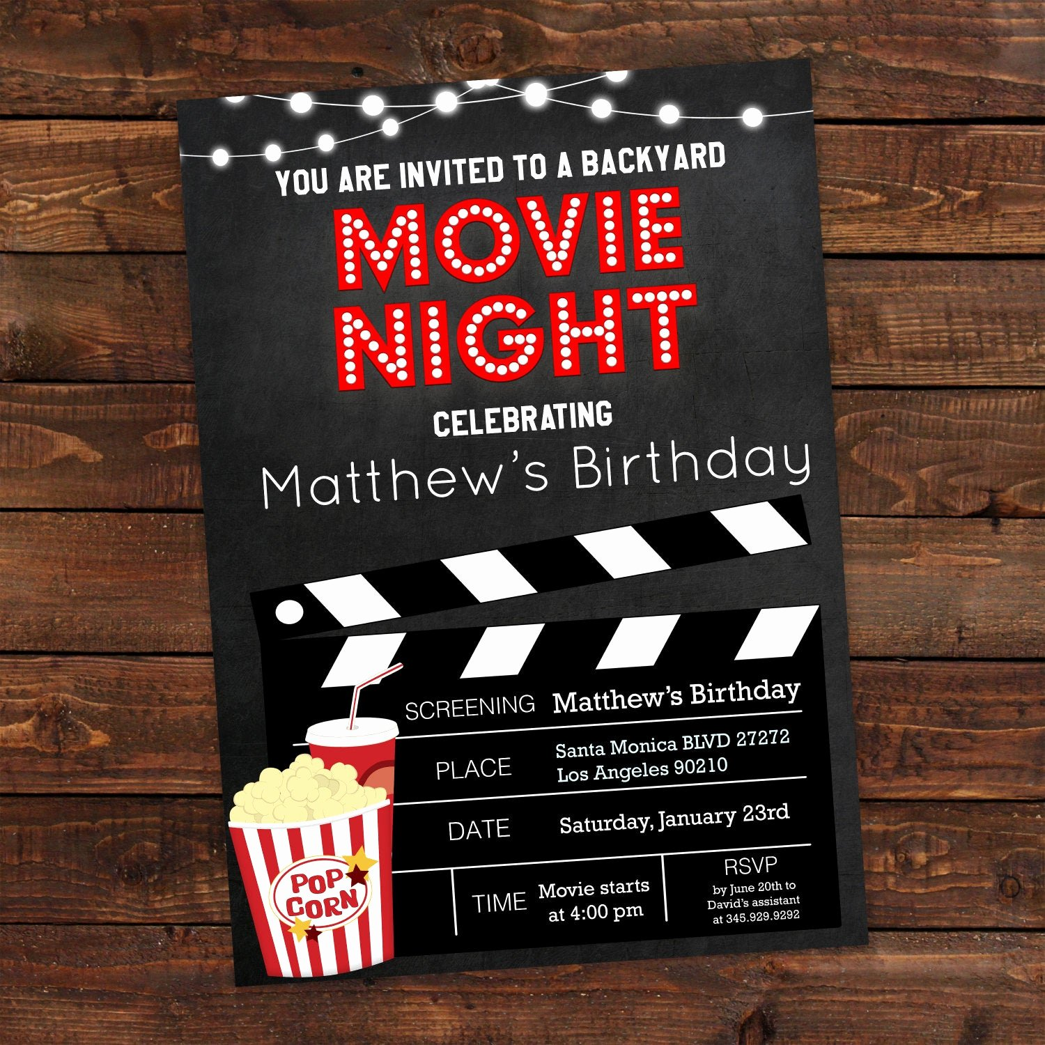 Printable Birthday Party Invitations Inspirational Printable Backyard Movie Night Party Invitation Movie Night