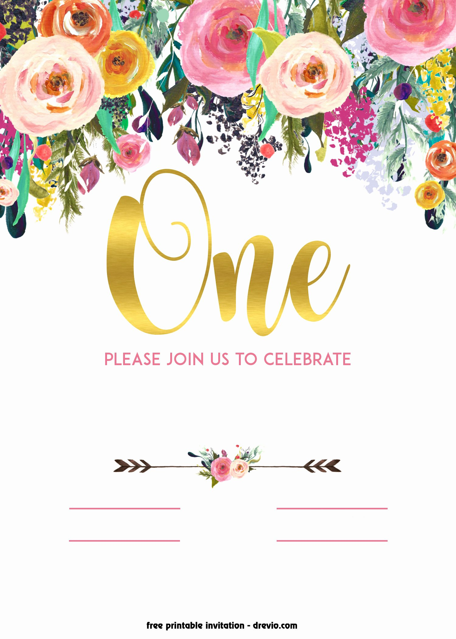 Printable Birthday Party Invitations Lovely Free Printable 1st Birthday Invitation – Vintage Style
