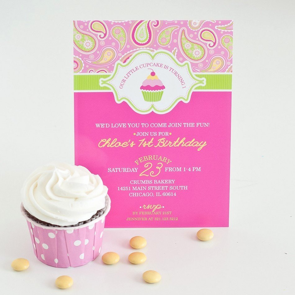 Printable Birthday Party Invitations Luxury A Cupcake themed 1st Birthday Party with Paisley and Polka