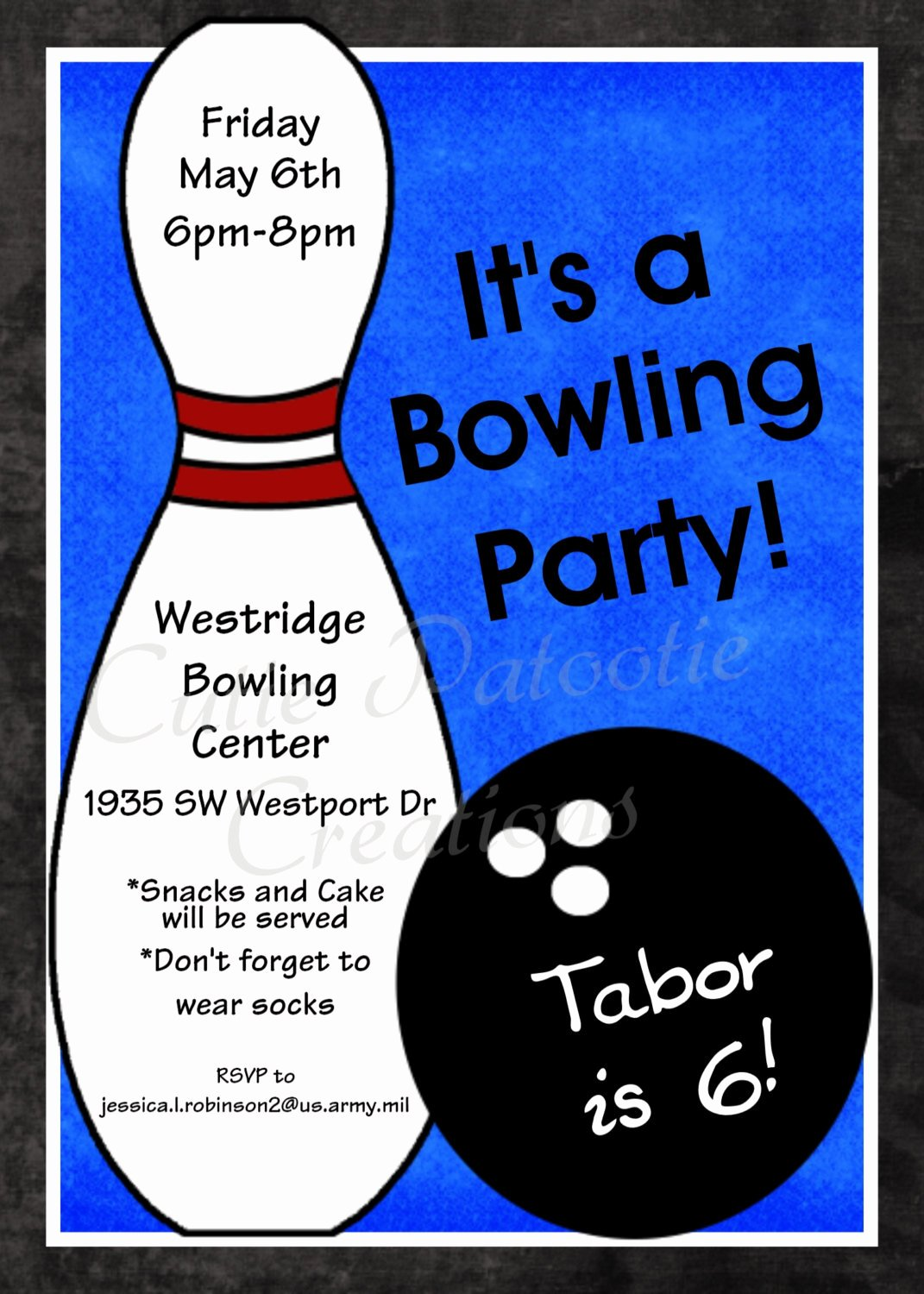 Printable Birthday Party Invitations New Bowling Birthday Invitation Printable or Printed Party Invite