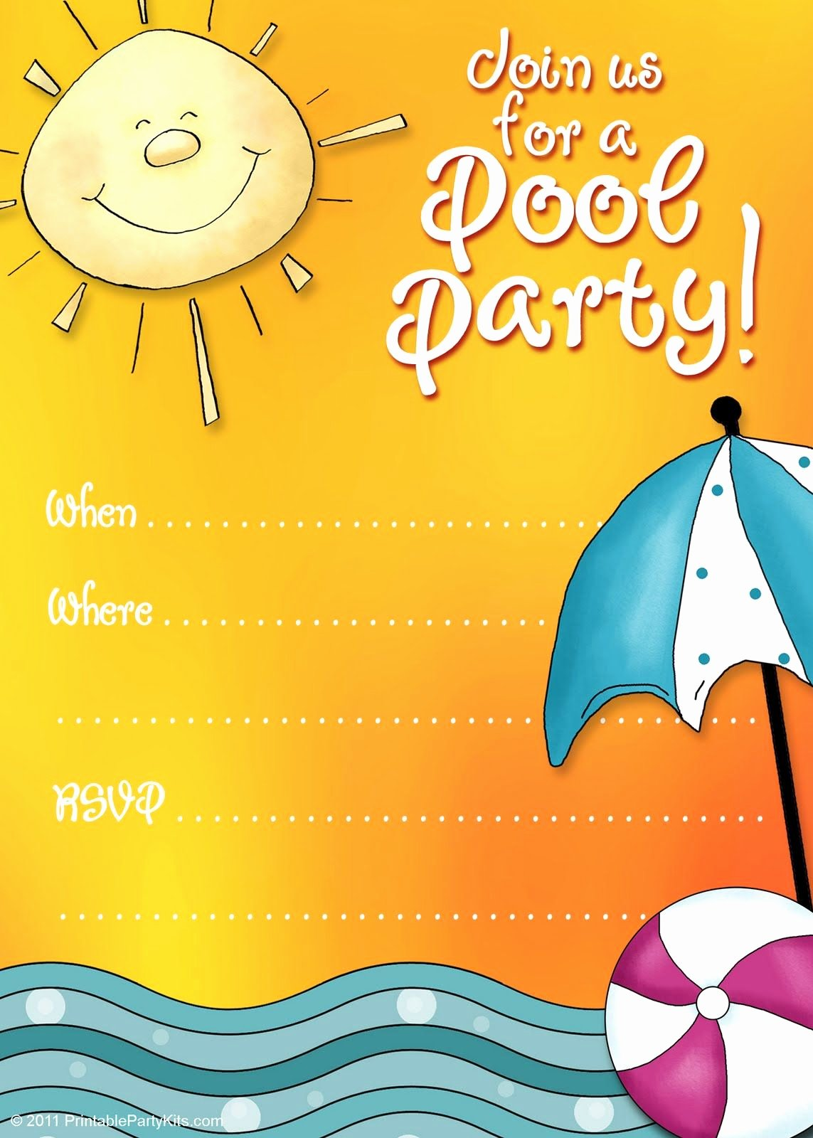 Printable Birthday Party Invitations New Free Printable Party Invitations Summer Pool Party