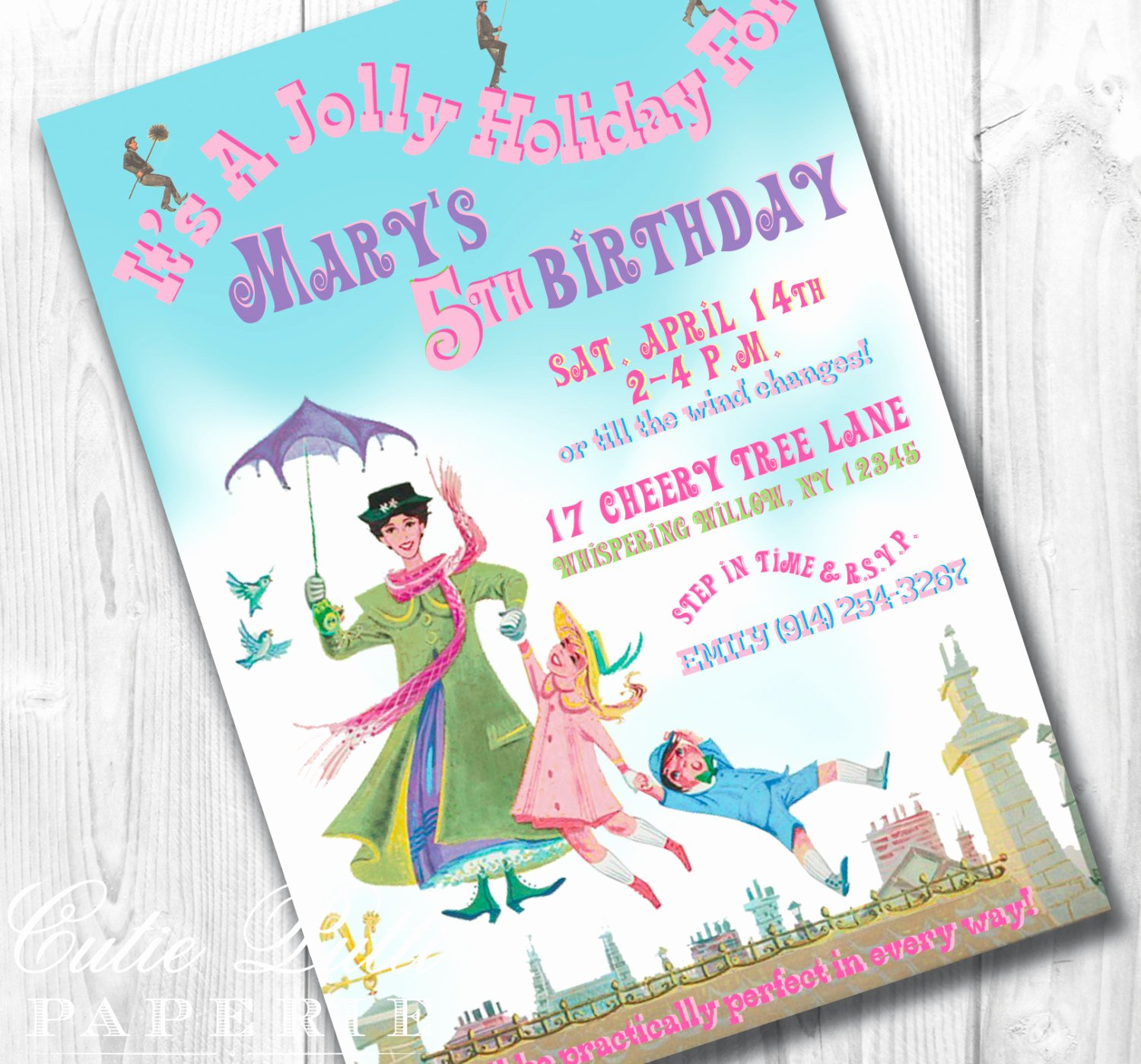 Printable Birthday Party Invitations New Mary Poppins Party Invitations Printable Custom Invitations
