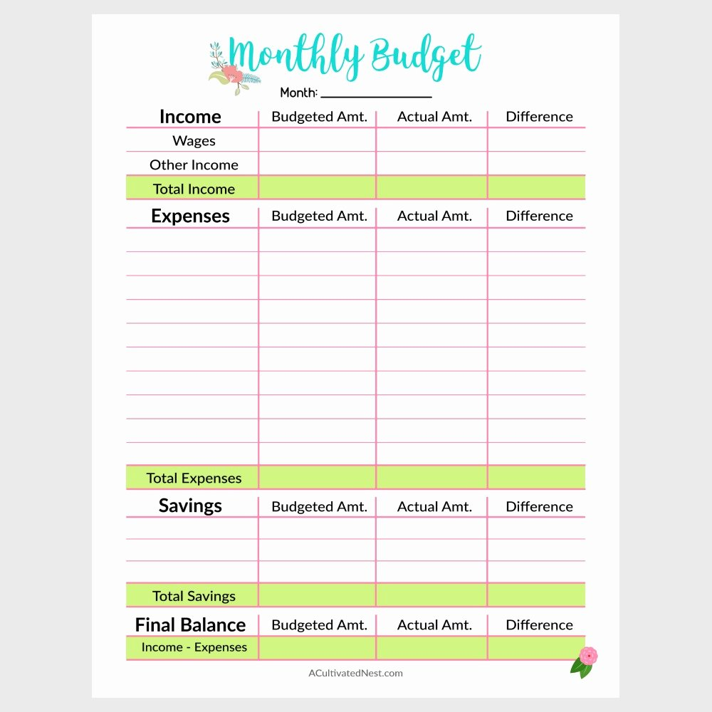 printable monthly bud template