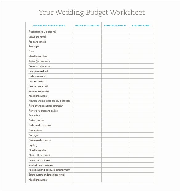 Printable Budget Worksheet Pdf Fresh Wedding Bud Sheet Printable