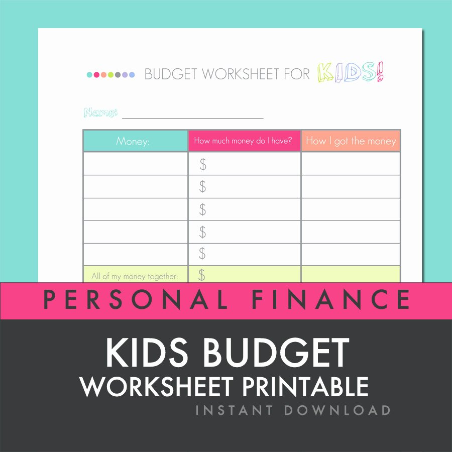 Printable Budget Worksheet Pdf Inspirational Kids Bud Worksheet Printable Pdf Personal by