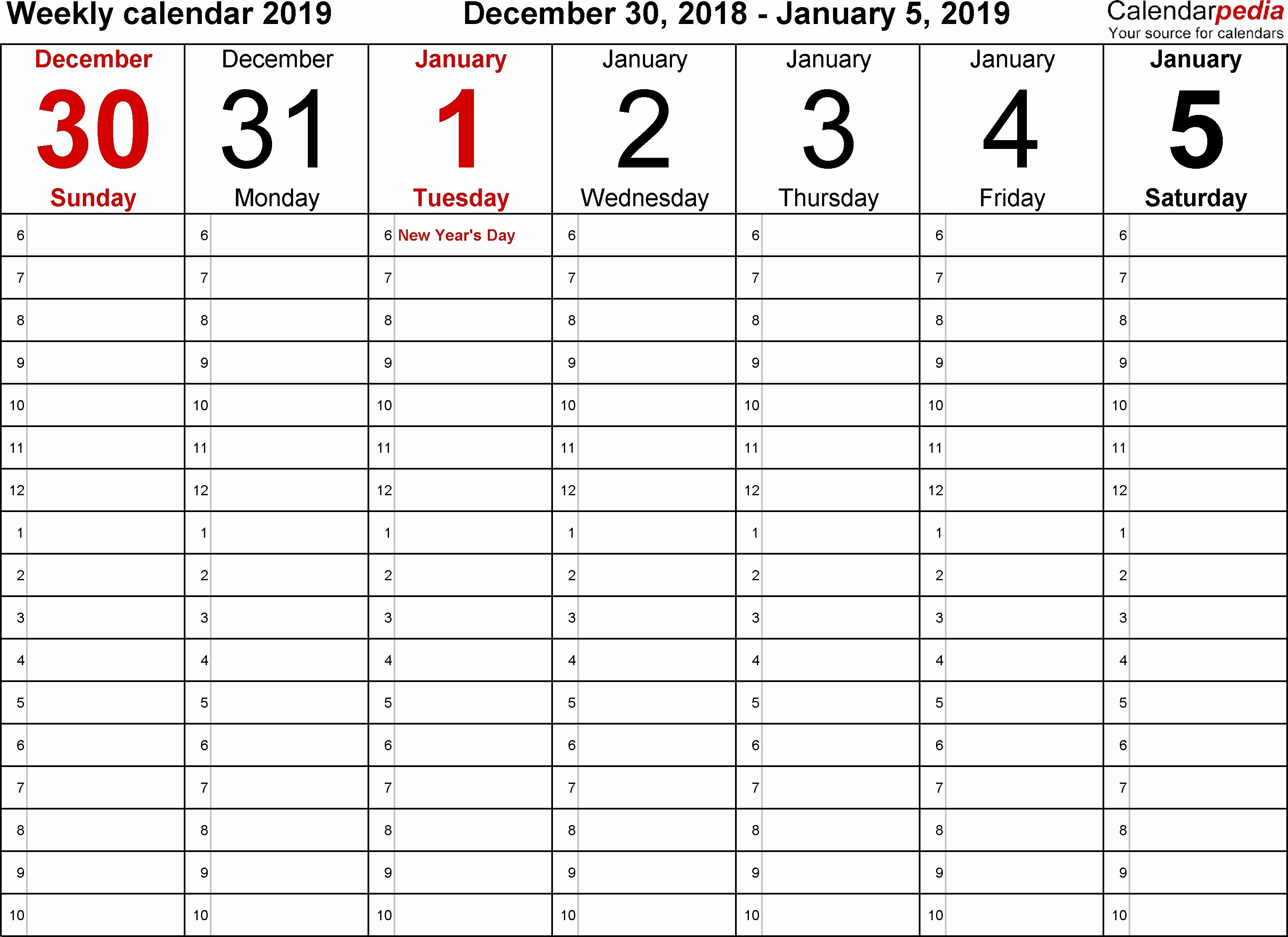Printable Daily Planner 2019 Unique Weekly Calendar 2019 for Pdf 12 Free Printable Templates