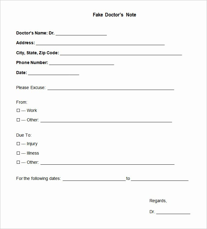 Printable Fake Doctors Notes Free Awesome Doctors Note Template 9 Free Sample Example format