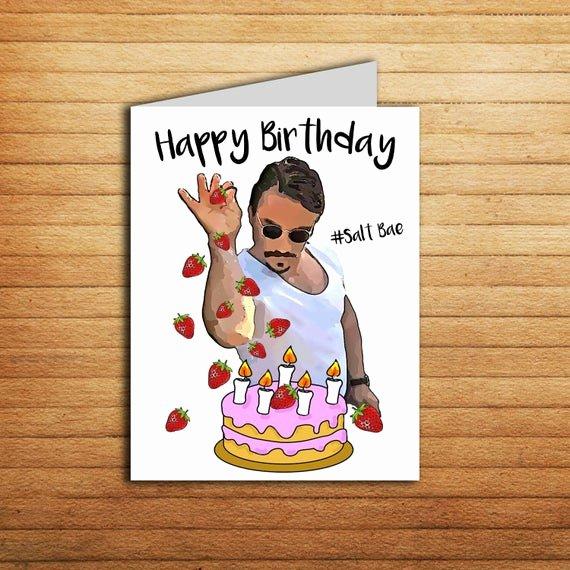 Printable Funny Birthday Cards Fresh Salt Bae Birthday Card Printable Funny Birthday Card for