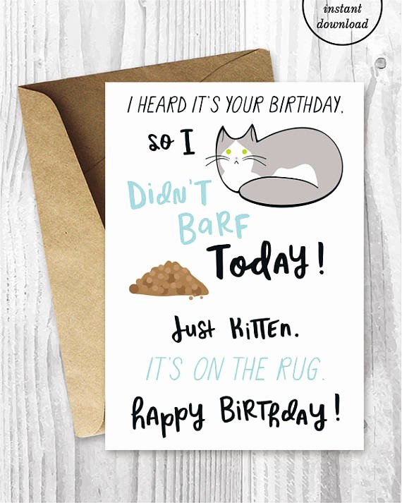 Printable Funny Birthday Cards New Funny Birthday Printable Cards Funny Cat Birthday Cards Grey