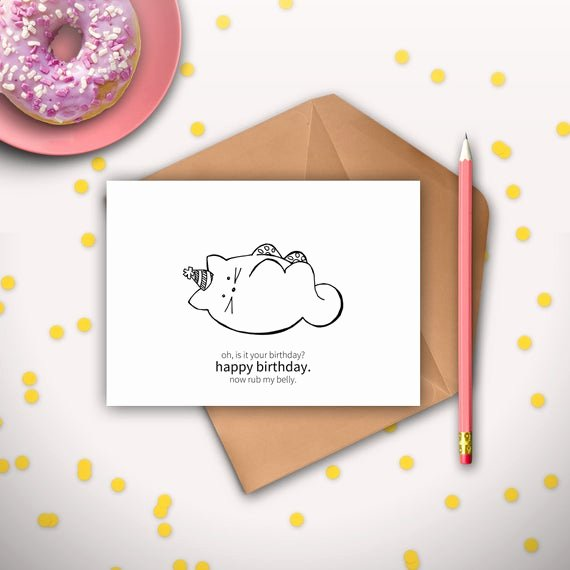 Printable Funny Birthday Cards Unique Funny Cat Birthday Card Printable Instant Download Digital