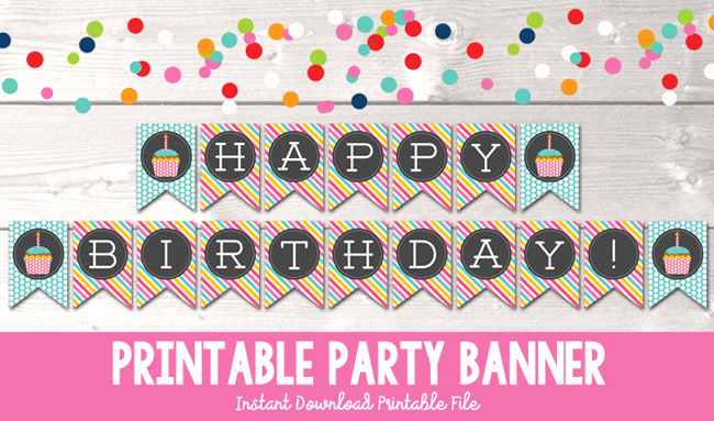 Printable Happy Birthday Banners Awesome Happy Birthday Cupcake Printable Party Banner In Blue