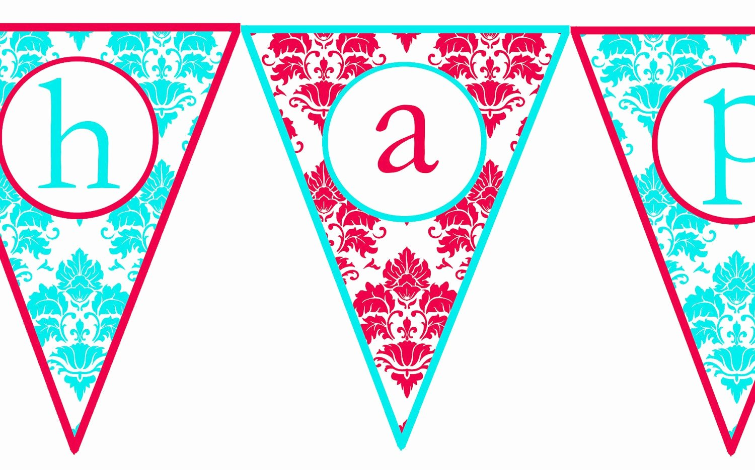 Printable Happy Birthday Banners Beautiful Instant Download Red & Aqua Damask Printable Happy Birthday