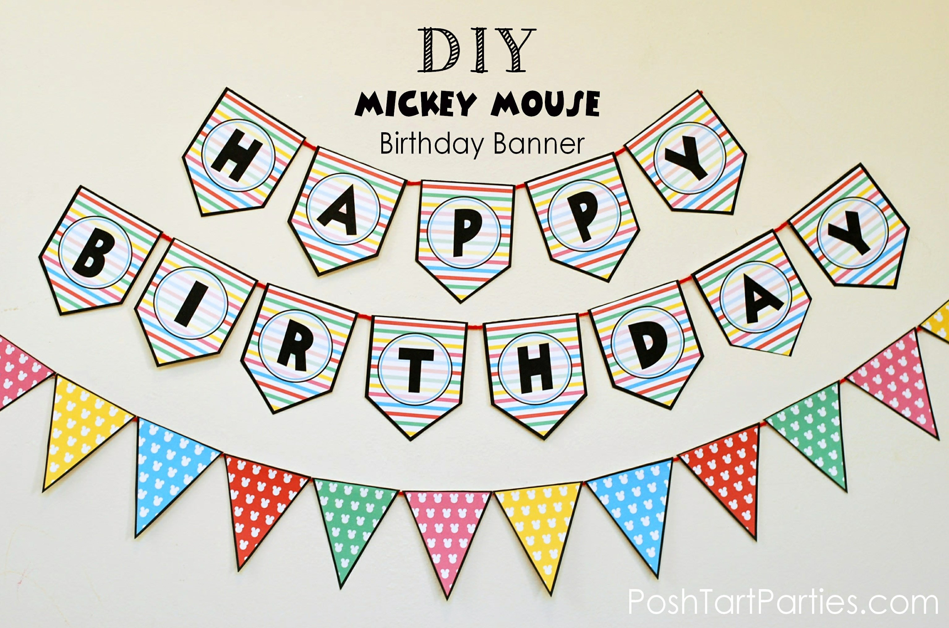 Printable Happy Birthday Banners Elegant A Mickey and Minnie Mouse Party – Free Printable Happy