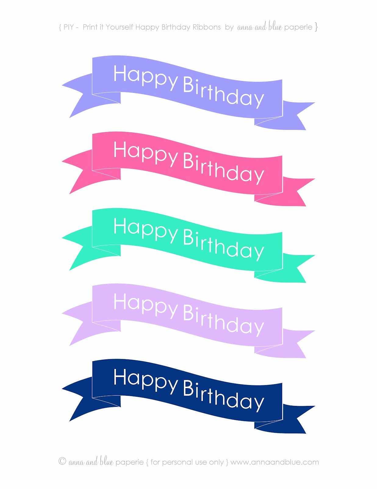 Printable Happy Birthday Banners Lovely Anna and Blue Paperie Free Printable Happy Birthday