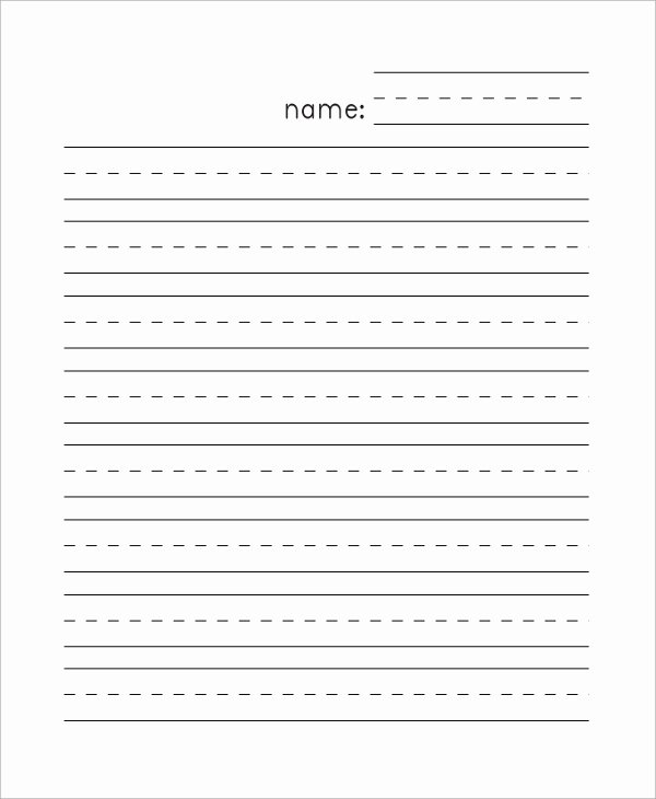 Printable Kindergarten Writing Paper New Sample Lined Paper 7 Documents In Pdf Word