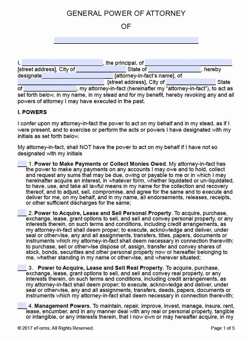 Printable Power Of attorney Best Of Free Printable General Power Of attorney forms