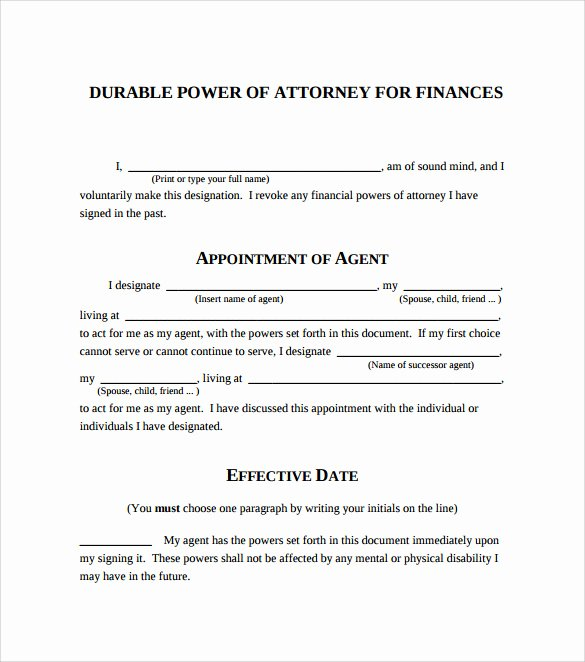 Printable Power Of attorney Best Of Sample Blank Power Of attorney form 10 Download Free