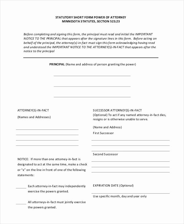 Printable Power Of attorney Elegant Free 30 Sample Power Of attorney forms