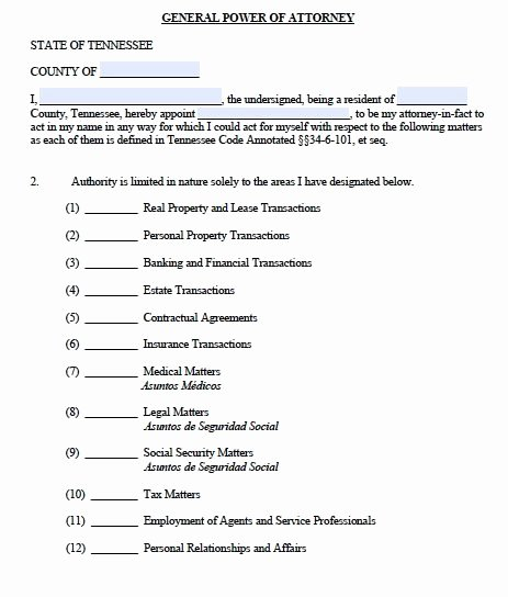 Printable Power Of attorney Fresh Free General Power Of attorney Tennessee form – Adobe Pdf