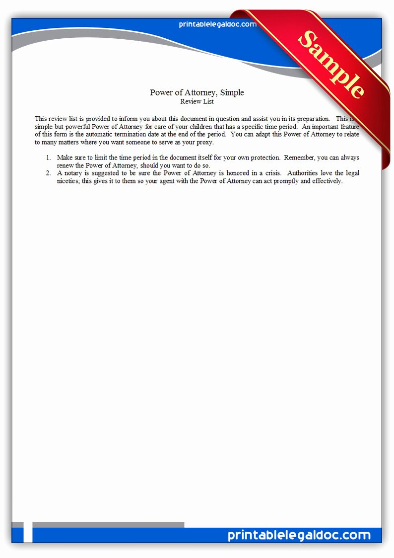 Printable Power Of attorney Fresh Free Printable Power attorney Simple form Generic