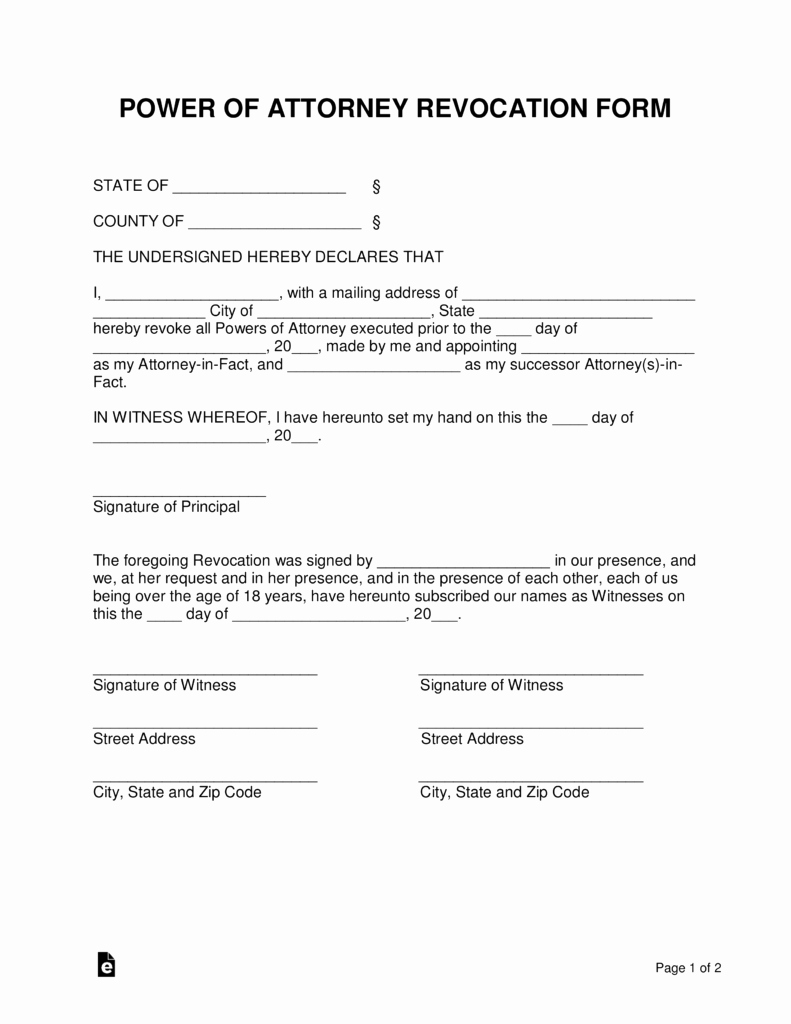 Printable Power Of attorney Inspirational Free Power Of attorney Revocation form Cancel Power Of