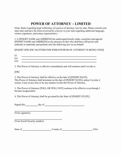 Printable Power Of attorney Lovely Limited Power Of attorney form Download Create Fill