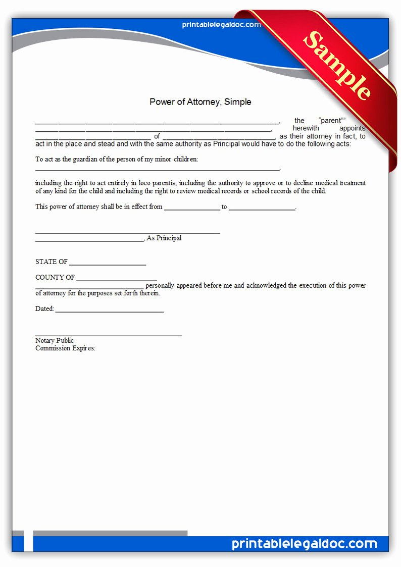 Printable Power Of attorney New Free Printable Power attorney Simple form Generic